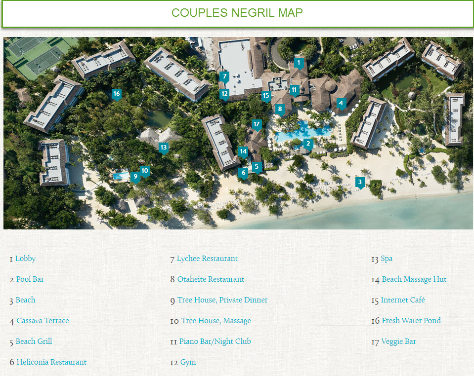 Map Of Couples Negril Sunset Travel Inc: Map Of Couples Resorts In Jamaica At Infoasik.co