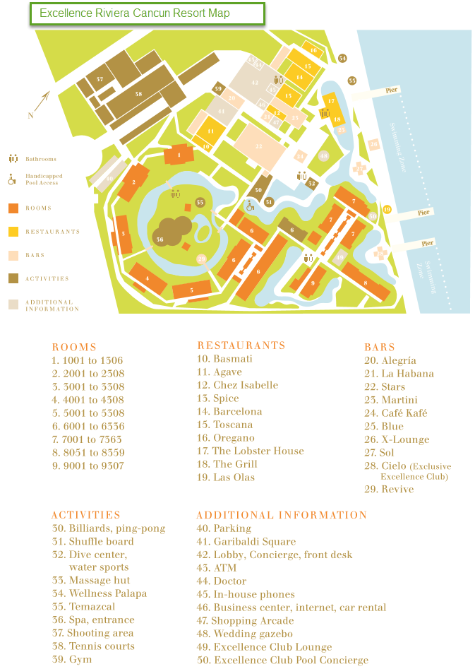 Excellence Riviera Cancun Map | Sunset Travel Inc.
