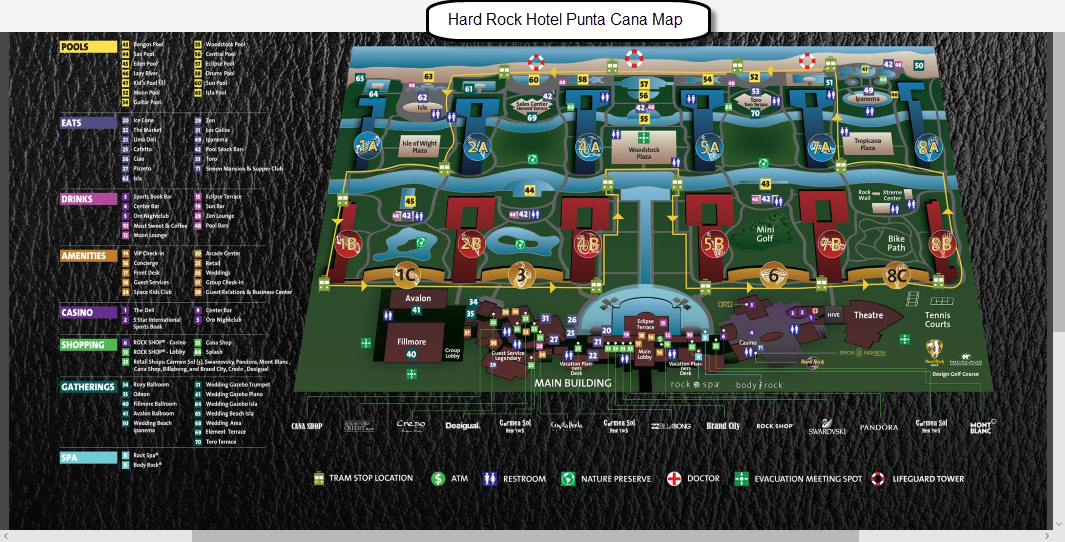 Map Of Hard Rock Punta Cana