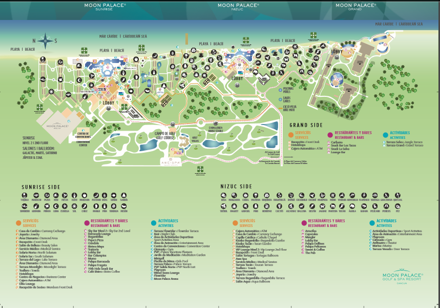 Best MAP of the Moon Palace Cancun Resort | Sunset Travel Inc. Cancun Hotel Map on